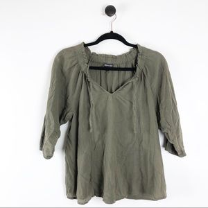 Express V-Neck Tie Blouse Shirt Green Size XS